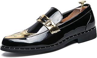 Calzado de ala de negocios casual La personalidad casual de Oxford de los negocios de los hombres con los zapatos brogue puntiagudos gruesos de charol Wingtip Calzado de ala de desgaste formal