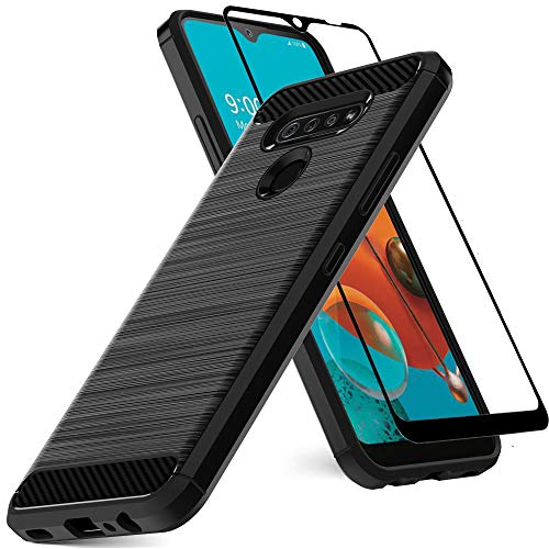 Dretal LG K51 Case, LG Reflect Case with Tempered Glass Screen Protector, Shock-Absorption Slim Fit Flexible TPU Case Brushed Texture Soft Rubber Protective Cover for LG Reflect/LG Q51 (Black)