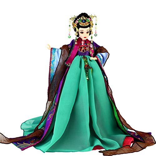 JaidWefj Hermosa muñeca de Traje Chino/Muñeca Hua Rui Lady móvil de 12 articulaciones - Colección de decoración del hogar