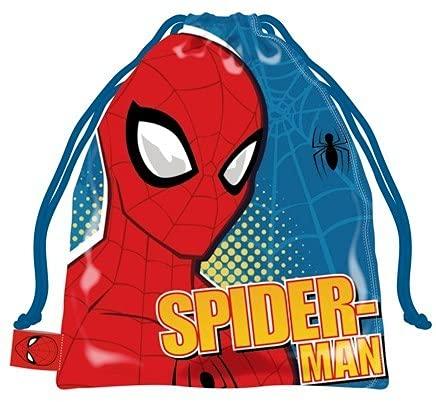EVOLUX Bolsa con cuerdas infantil colegio guarderia con dibujos, mochila con cordones para niños Bolsa para regalo, deporte, meriendas (SpiderMan)