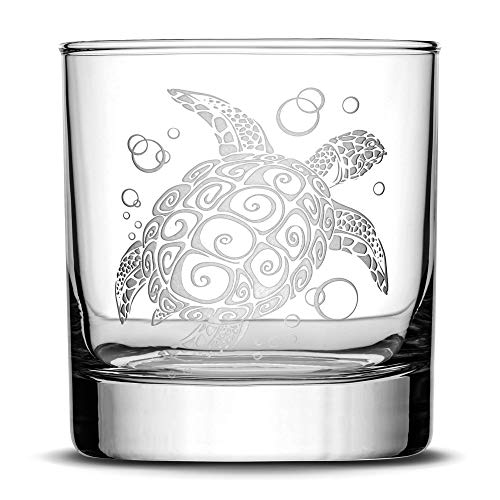 Integrity Bottles Premium Sea Turtle Whiskey Glass, Hand Etched Tribal Design, 10oz Rocks Glass Made in USA, Highball Gifts, Sand Carved