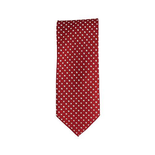 Basic Ties stropdas klassiek polyester rood glitter kleine ruiten 8,5 cm