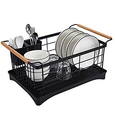 "BOKYWOX Modern Wood Handle Dish Racks Black 15.75"" x 12.2"" x 9"" Kitchen Plate Cup Dish Drying Rack Tray Cutlery Dish Drainer Stainless Steel by BOKYWOX"