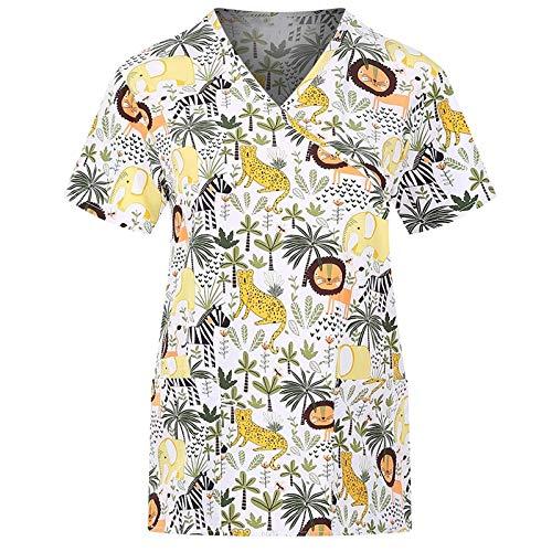 Camisetas de Manga Corta con Cuello en V y Bolsillos para Mujer Camisetas de Trabajo Uniformes de Trabajo Camisetas de enfermería Regalos Agradecidos