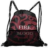 Fire And Blood ターガリエン家 House Targaryen ナップサック 巾着袋 ナイロンバッグ 折り畳み 防水 大容量 コンパクト 軽量 多機能 シューズ収納 スポーツバック 旅行/アウトドア運動/部活用 男女兼用 人気