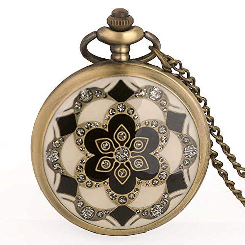 ZIYUYANG Reloj de Bolsillo,Reloj de Bolsillo con Flor de cerámica deBronce Vintage paraHombre, Regalo para Mujer, Color Blanco