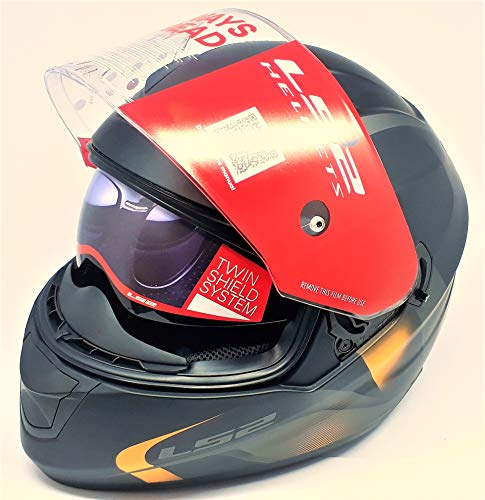 LS2 Helmets - FF320 – Stream – Velvet Matt Black Orange Dual Visor Full Face Motorcycle Helmet (Size: L – 58 cm)