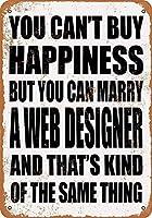 金属ティンサイン-あなたは幸福を購入することはできませんが、Webデザイナーと結婚することができます-ヴィンテージバーの壁の装飾