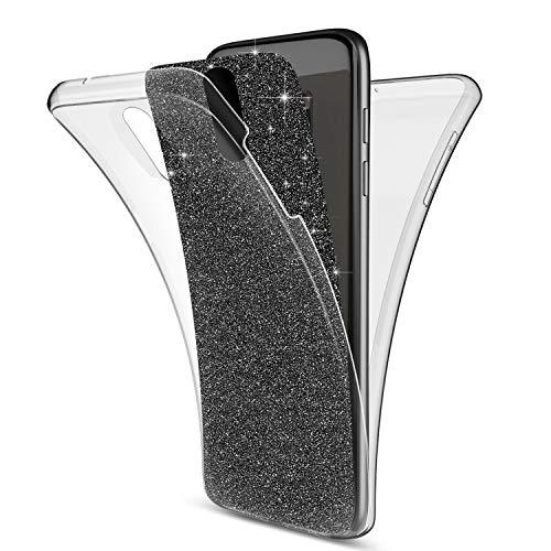 Kompatibel mit Huawei Mate 10 Lite Hülle,Full-Body 360 Grad Bling Glänzend Glitzer Klar Durchsichtige TPU Silikon Hülle Handyhülle Tasche Hülle Front Cover Schutzhülle für Huawei Mate 10 Lite,Schwarz