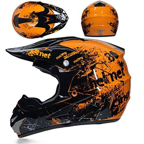 KAAM Casco de motocross con gafas (4 piezas), casco de protección juvenil, para adultos, motocicleta, enduro, descenso, ATV, MTB, BMX, quad, para hombres y mujeres, color naranja, S