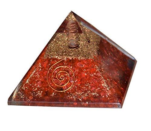 Aatm Orgone-Pyramide, mit Reiki energetisiert zur Chakra-Heilung, Edelstein und Kupfer, EMF-Schutz, Energiegenerator, Rot