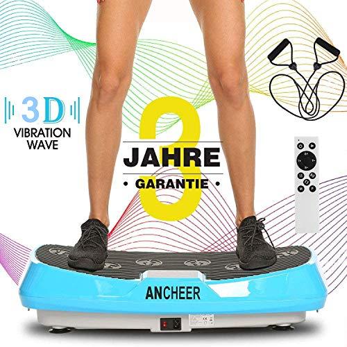 ANCHEER Profi 3D Vibrationsplatte mit 2 Motoren, Ultraflache Breite Fitness Vibrationsplatten Oszillierend Vibrationstrainer mit Fernbedienung, Trainingsbänder, Anleitung, 20-30hz, bis 120kg Belastbar
