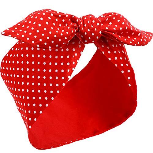 Draht Kostüm Stirnbänder Polka Punkt Stirnbänder Retro Vintage Haarband Kopfwickel für Mädchen und Frauen (Rot)
