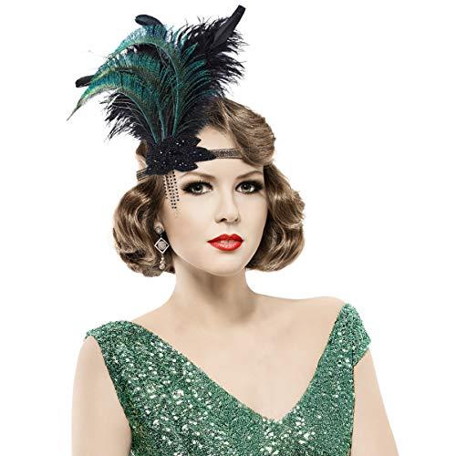 Lurrose Damen 1920s Stirnband Feder 20er Jahre Haarband Schwarz Kostüm Accessoires Damen Retro Stirnband Haarschmuck für 20er Jahre Party