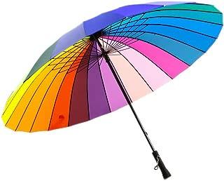 Qich® Free Shipping Top Quality 24k Color Rainbow Fashion Long Handle Straight Sun/Rain Stick Umbrella Manual Paraso