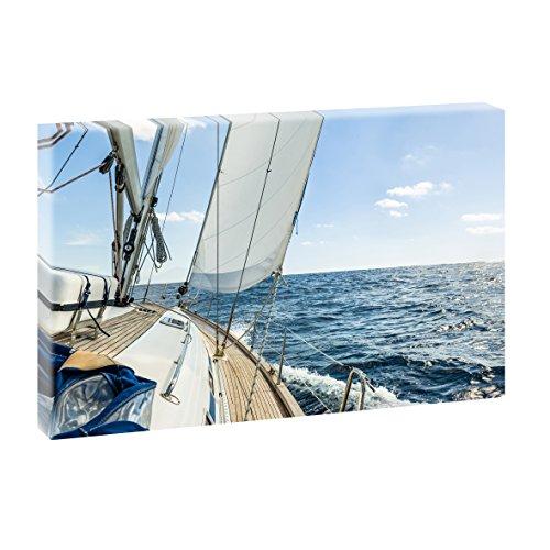 Lifestyle Bild auf Leinwand Sailing Segeln - 120x80 cm Wandbild im XXL-Format, Leinwandbild mit Kunstdruck, Moderne Fotografie auf Holzrahmen gespannt, Made in Germany, Farbig
