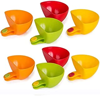 Plate Clip-on Holder, DELFINO 8 Pack Plate Clips, Sauce Clips, Dipping, Condiment Clips Mini Side Bowls, Assorted Dip Clip...