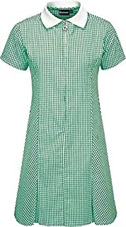 Gingham School Summer Dress Pleated Green 6-7 Years