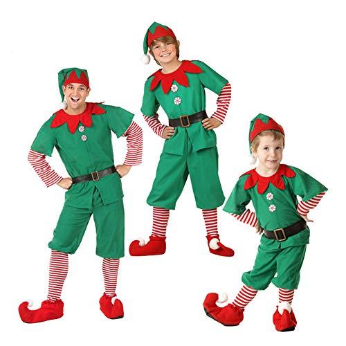 YFPICO Navidad Mamá Papá Niños Tops Familiares Conjuntos de Disfraz de Disfraz de Disfraz de Navidad para Padres e Hijos Padre-Hijo Infantil Vacaciones Cosplay, Verde Rojo y Blanco, 150cm