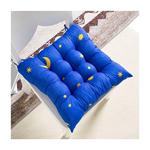 JLWM Chair Pad Solid Color, Thicken Seat Cushion with Ties Seat Pad Chair Cushion Office Student Four Seasons Square-Star and moon-blue-40x40cm