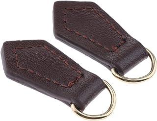 Fityle 2 peças de couro genuíno com zíper e puxador de etiquetas, bolsa de mão, acessório de carteira, Coffee, as describe...