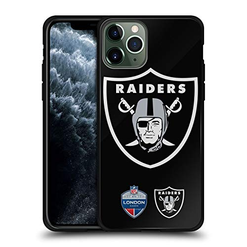 Head Case Designs Officially Licensed NFL Oversized Raiders 2019 London Games Black Hybrid Glass Back Case Compatible with Apple iPhone 11 Pro