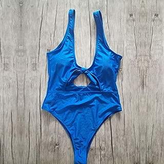 BEESCLOVER V Neck One Piece Swimsuit Women Swimwear High Cut Out Bathing Suits Bodysuit Monokini Bowknot Tied Swimsuit Beach Wear