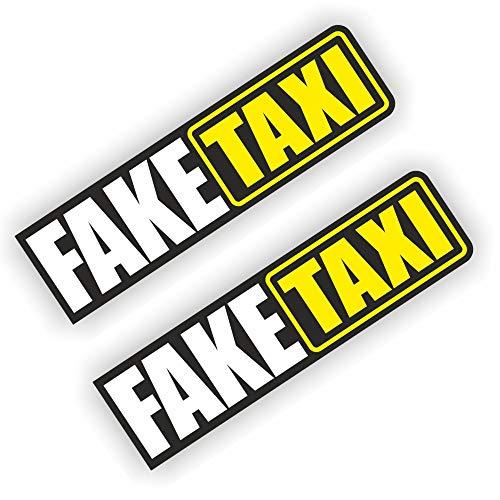 folien-zentrum 2X Fake Taxi Aufkleber Shocker Hand Auto JDM Tuning Dub Decal Stickerbomb Bombing Sticker Illest Dapper Fun Oldschool