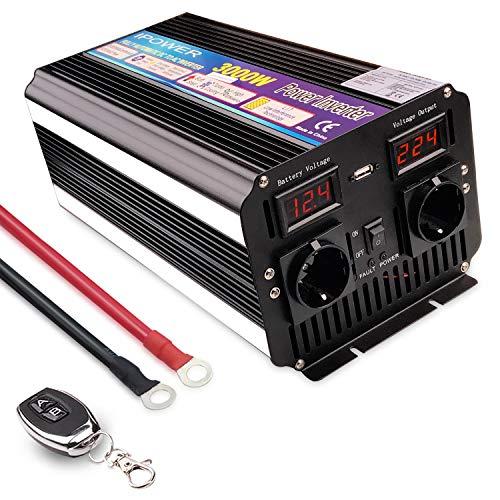 Yinleader Spannungswandler 3000W/6000W 12V 230V modifizierter Sinus Wechselrichter Power Inverter mit 2 Steckdose 1 USB und LED-Display, für Auto, Boot, Camping (drahtlose Fernbedienung)