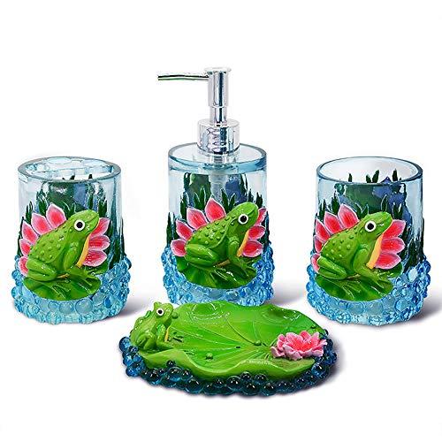 Hokaime Kreative Lotusblatt Frosch Bad-Accessoires Vier-teiliges Set-Inklusive Dekorative Seifenspender, Seifenschale, Tumbler, Zahnbürstenhalter, Grün