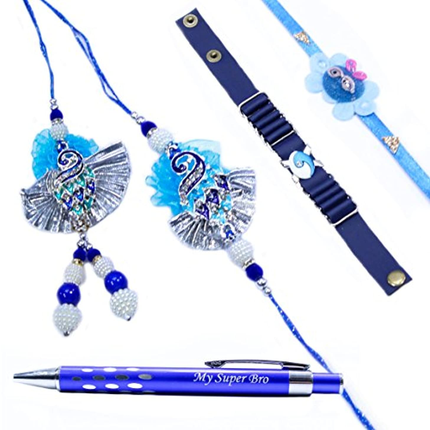 The Holy Mart Mayur Rakhi Set for Full Family, Rakhi for Brother and bhabhi & Kids, Premium Pen Gift Set(with Free Roli & Rice)