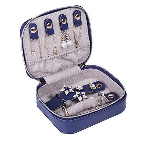 Aco&bebe House Kleiner Reise-Schmuck-Organizer Aufbewahrungstasche für tägliche Halsketten, Ohrringe, Ringe, Organisation (Marineblau)