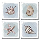 sechars Seashell Wall Decor for Bathroom Starfish Seashell Painting Art Prints on Canvas Coastal Ocean Beach Theme Picture Poster Gallery Canvas Wrapped for Home Bedroom Wall Decor