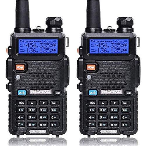 2 Pack Baofeng UV-5R Dual Band Two Way Radio, Walkie Talkie with 1800mAh Li-ion Battery