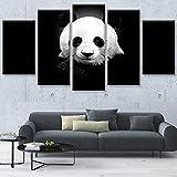 LWJPD Cuadro en Lienzo 5 Partes Cuadro De Arte De Pared Modular Cartel De Sala De Estar Hogar Panda Lindo Impresión HD Lienzo Moderno Decoración De Imagen Sin Marco 60 Inch