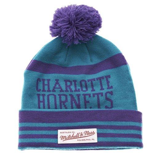 Mitchell & Ness Charlotte Hornets NBA - Gorro de lana para bebé, color azul y morado