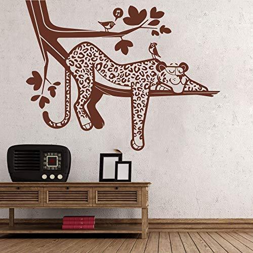 BFMBCH Cartoon Leopard Wilde Tier Baum Vinyl Wandaufkleber Baby Kindergarten Wald Leopard Tier Wand Schlafzimmer Wandaufkleber Schokolade 73X56 CM