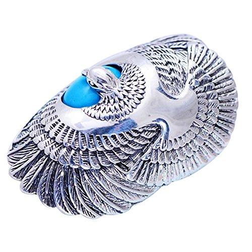 FORFOX Anillo de águila de Plata de Ley 925 Vintage con Turquesa Natural para Hombres Mujeres tamaño 17
