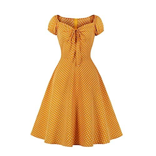 Wellwits Vestido vintage de los años 50 con lazo de lunares para mujer