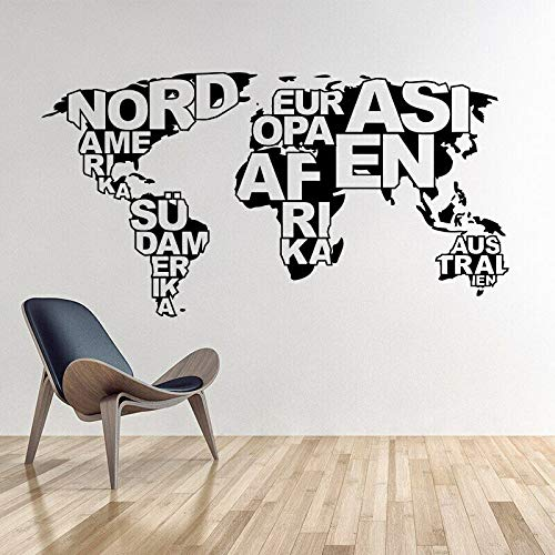 Etiqueta engomada de la pared del vinilo del mundo decoración del gimnasio del dormitorio del aula del esquema del mundo abstracto