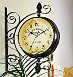 Killer's Instinct Outdoors Vintage Double Sided Wall Clock Vintage Industrial Wall Clock for Outdoor Decorative Wall Art Antique Decor Wall Office Wall Clock Silent Kitchen Wall Clock Steampunk
