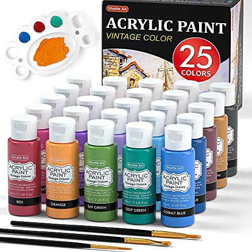 Acrylic Paint, Shuttle Art 25 Vintage Colors Acrylic Paint Set, 2oz/60ml Bottles, Rich Pigmented, Premium Acrylic Paints for Artists, Beginners and Kids on Rocks Crafts Canvas Wood Ceramic