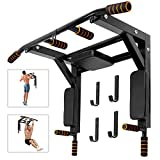Odoland Wall Mounted Pull Up Bar and Dip Station, Chin Up Bar Dip Stands Compact Power Tower Set for Indoor Home Gym Workout, Multifunctional Fitness Training Equipment Supports to 440 Lbs