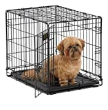 MidWest I Crate 1524 -24 Inch Folding Metal Dog Crate w/ Divider Panel, Small Dog Breed, Black