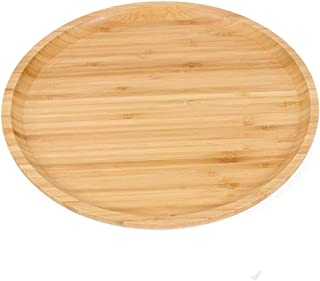GKanMore Bamboo Serving Tray 10 Inch Bamboo Round Plate Bread Coffee Tea Tray Fruit Platter Tray for Home Hotel Restaurant...