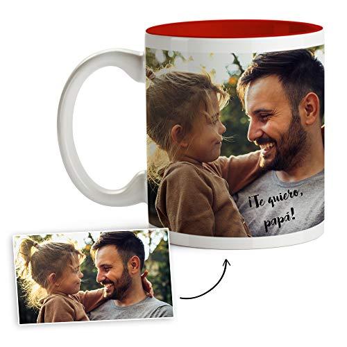 Fotoprix Tazas Personalizadas con Foto y Texto | Regalos Personalizados con Foto para Padres | Taza Personalizada con el Nombre de Papá | Día del Padre | Taza de Color Rojo