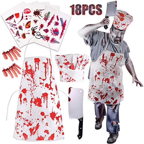 TUPARKA 18Pcs Zombie Costume Halloween Decorations, Zombie Costume Bloody Chef Butcher Apron Disfraces Halloween Scary Zombie Party