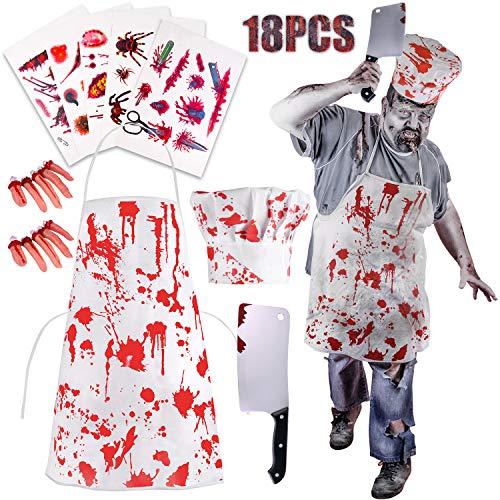 TUPARKA 18tlg Zombie Kostüm Blutige Schürze Halloween Deko, Koch Metzger Blutbad Kochschürze Kostüme Halloween Grusel Zombie Party