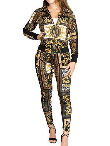 Victorious Women's Luxury 2 Piece Tracksuit Set - Long Sleeve Sweatshirts and Sweat Pants VL209 - Black - Large - J15G