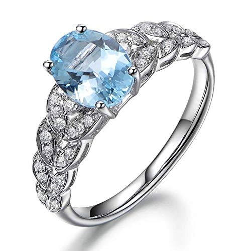 necklace Ladies fashion Solid 14K White Gold Jewelry Women's oval sapphire gem diamond wedding engagement rings set, ring size: X 1/2 Hoisting